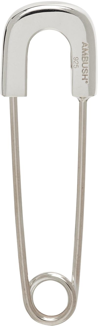 Silver Safety Pin Pierce Single Earring