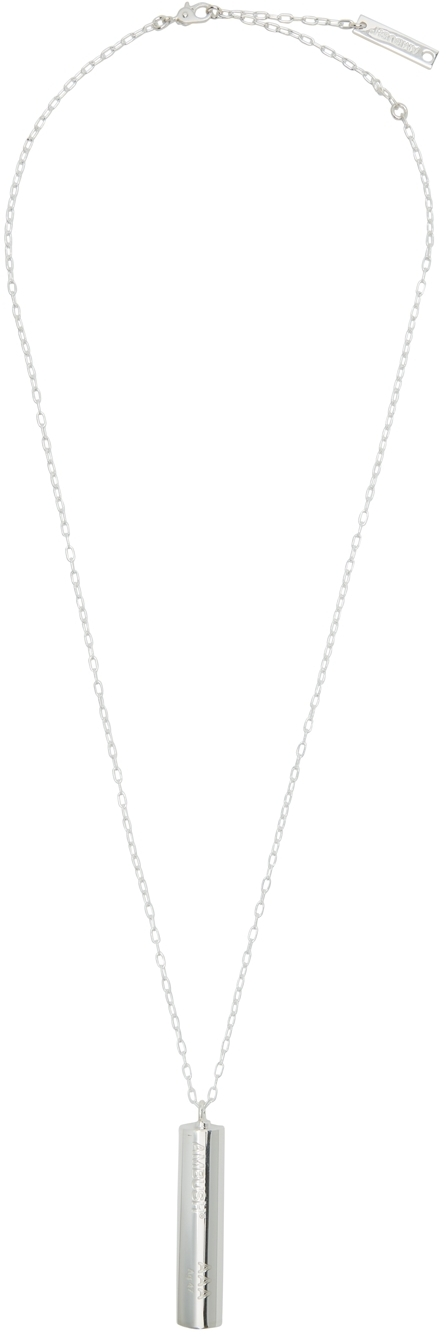Silver Battery Charm Necklace