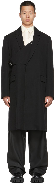 Black Single-Breasted Belted Coat
