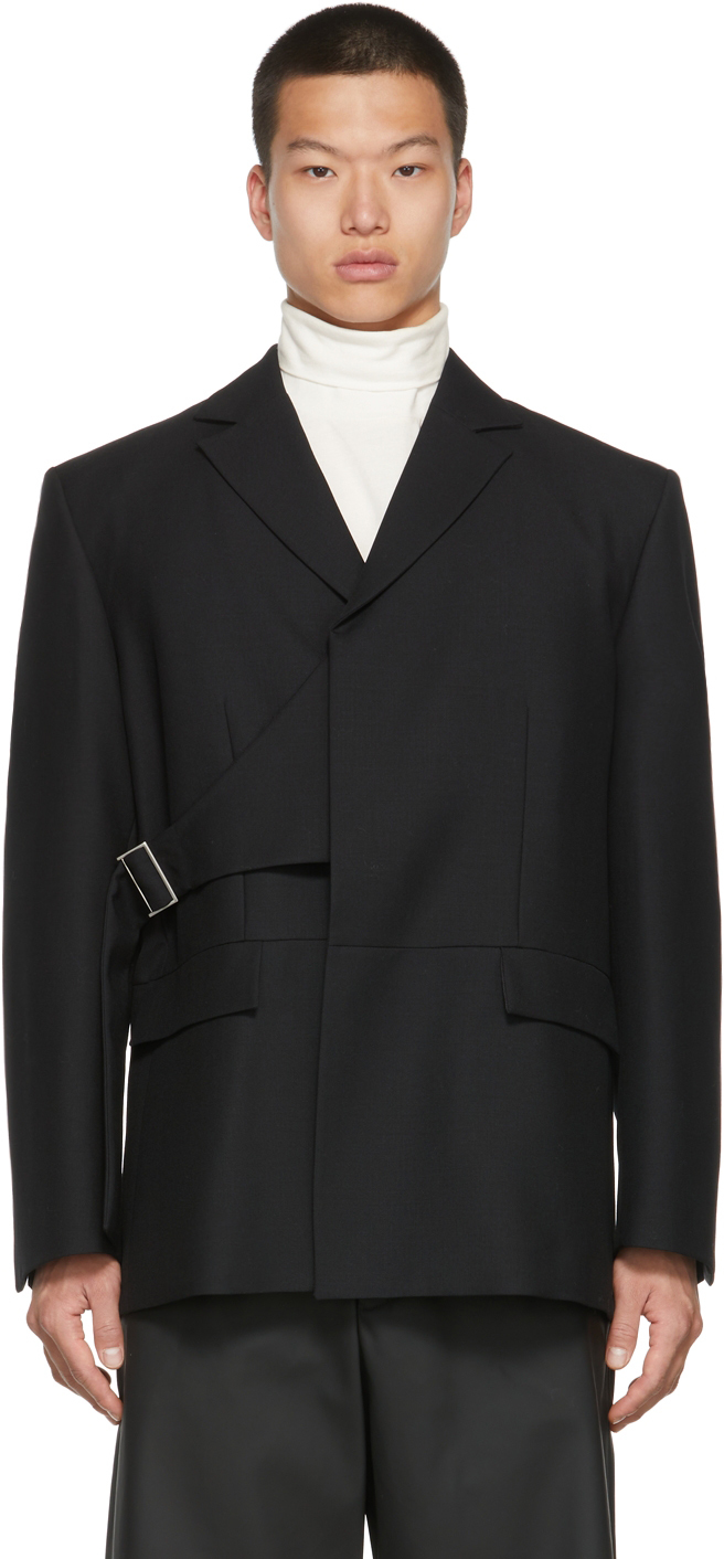 Black Double-Breasted Belted Blazer