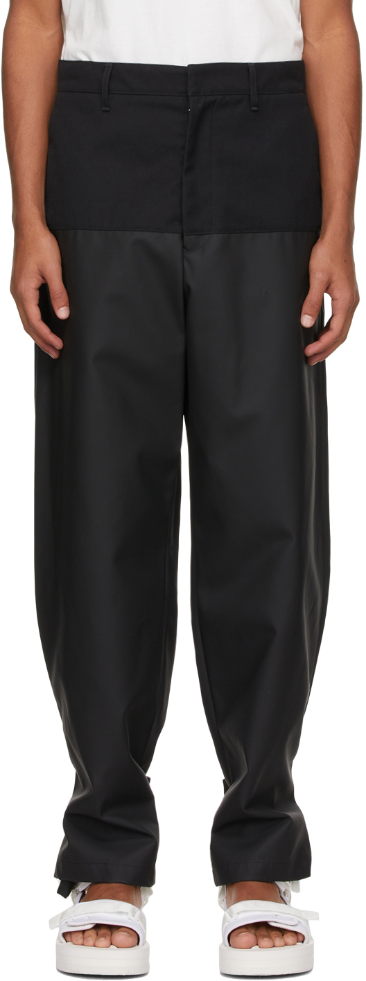 Black Rubber Coated Worker Trousers