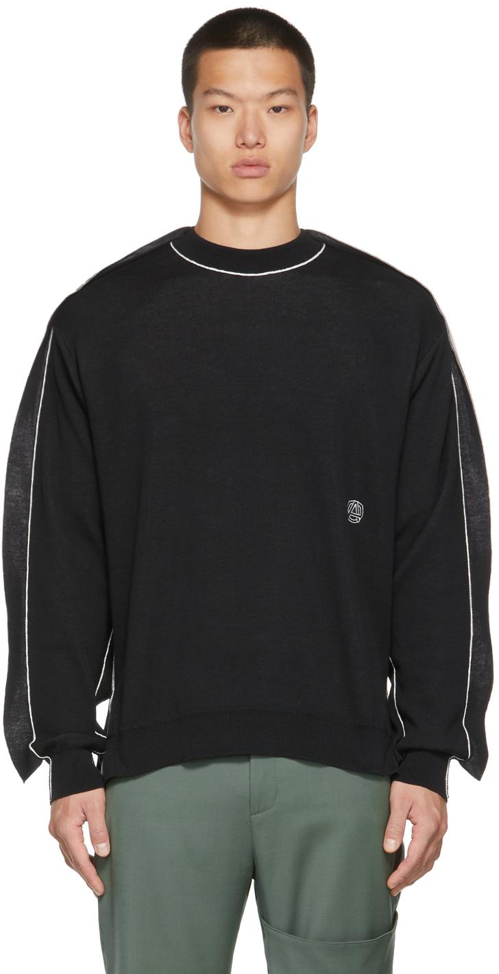 Black & Grey Knit Fin Sweater