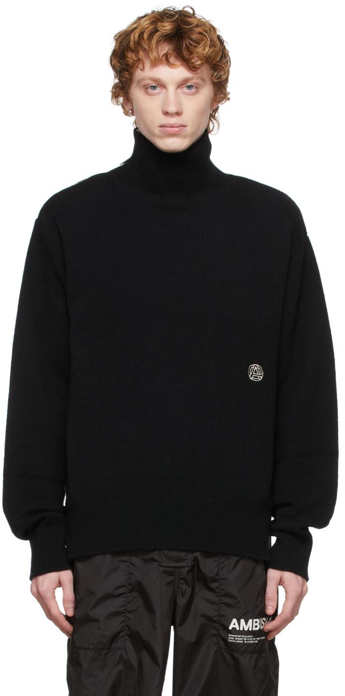 Black Wool Zip-Up Turtleneck