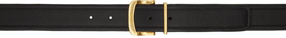 Black & Gold Calfskin D-Ring Belt