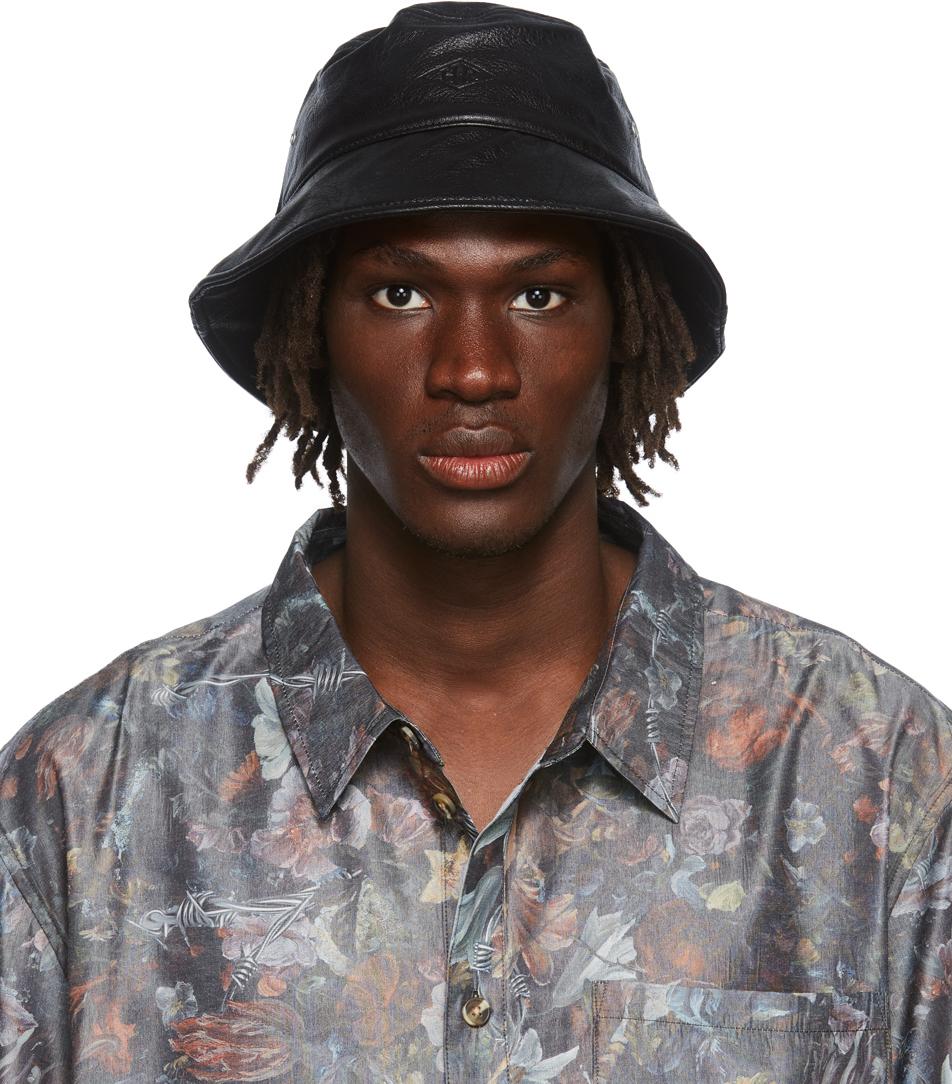 Black Faux-Leather Bucket Hat