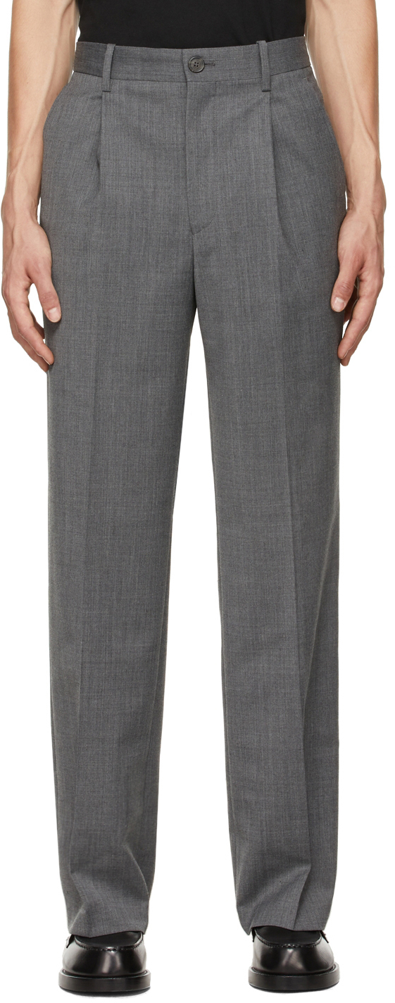 Grey Wool Suit Trousers
