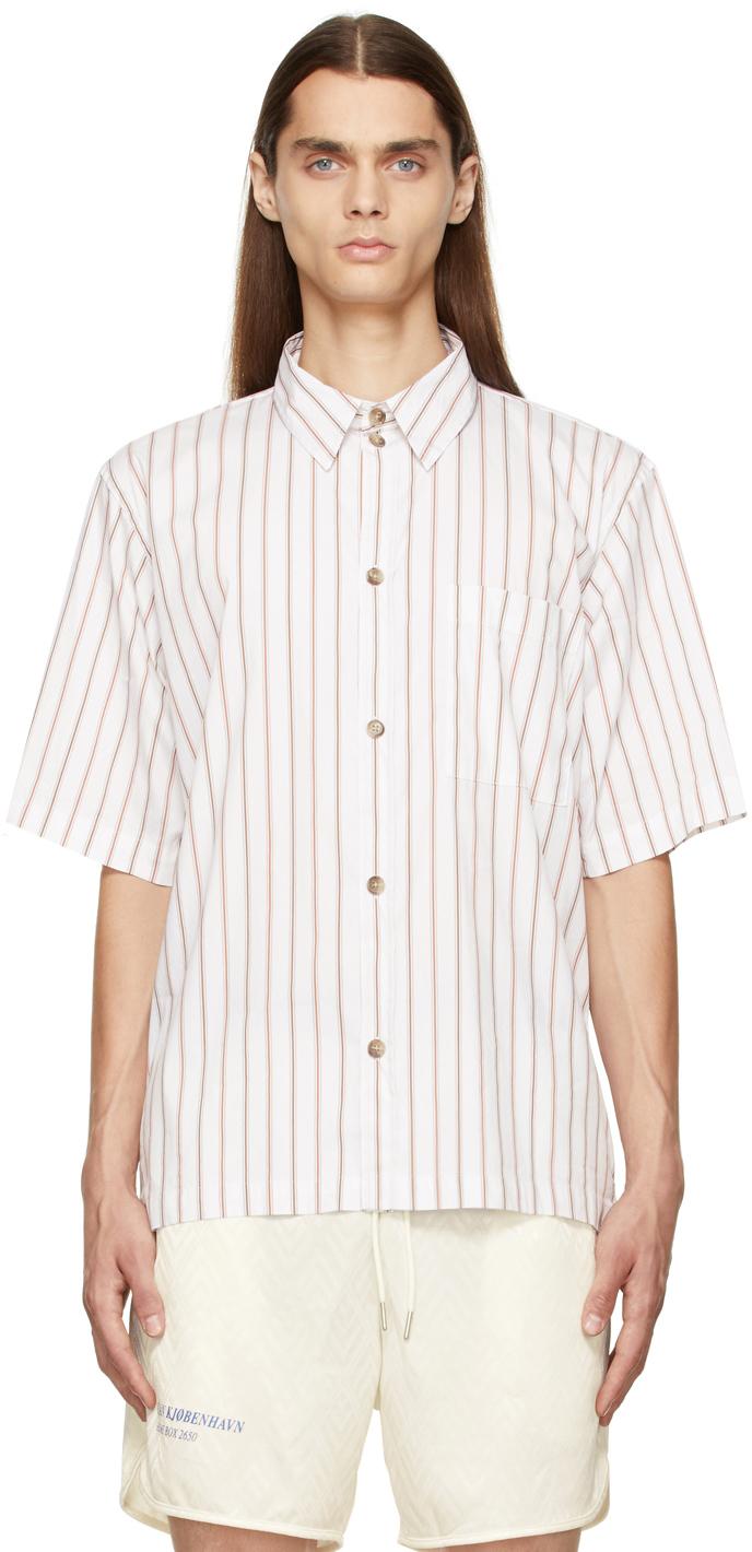 White & Brown Stripe Boxy Short Sleeve Shirt