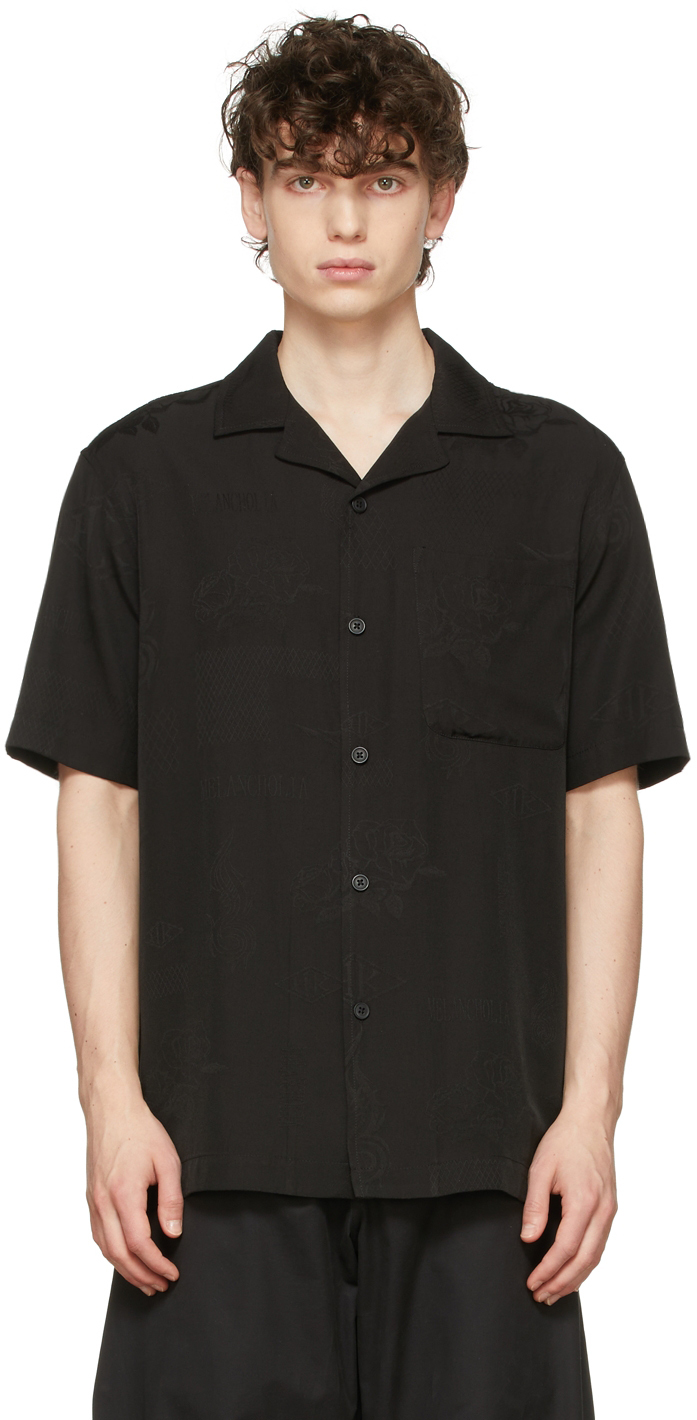 Black Jacquard Summer Short Sleeve Shirt