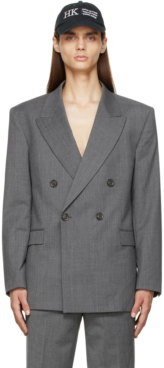 Grey Wool Boxy Blazer