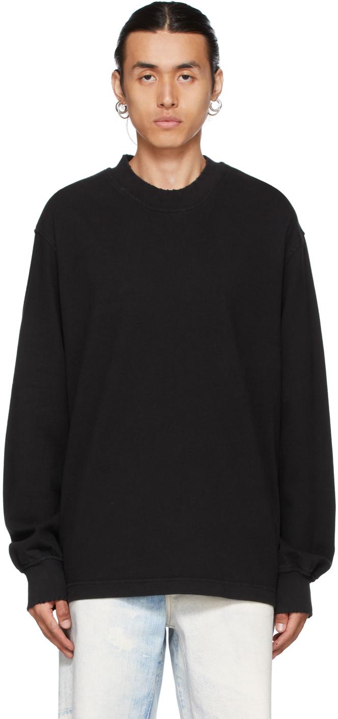 Black Distressed Long Sleeve T-Shirt