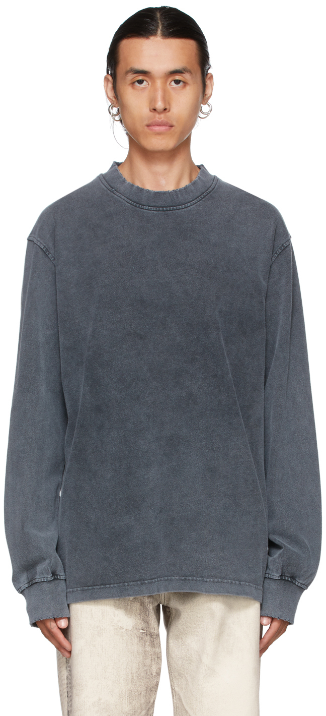 Grey Faded Distressed Long Sleeve T-Shirt