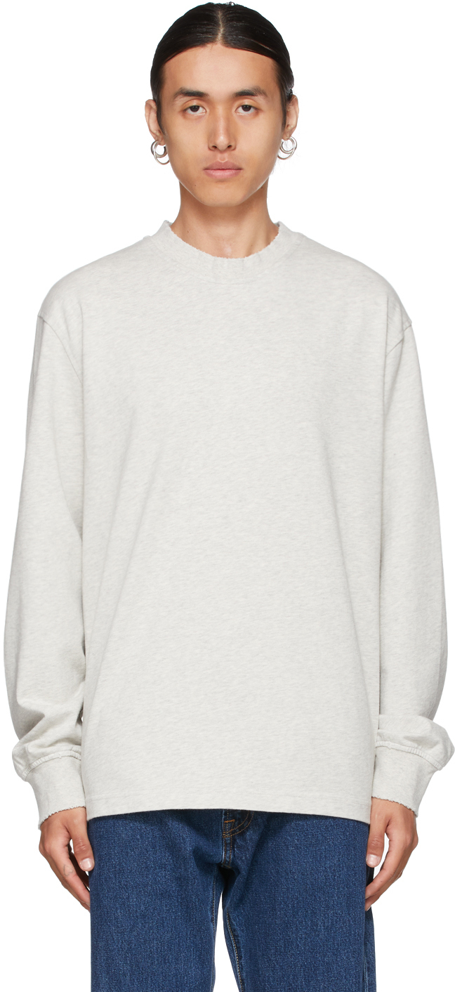 Grey Distressed Long Sleeve T-Shirt