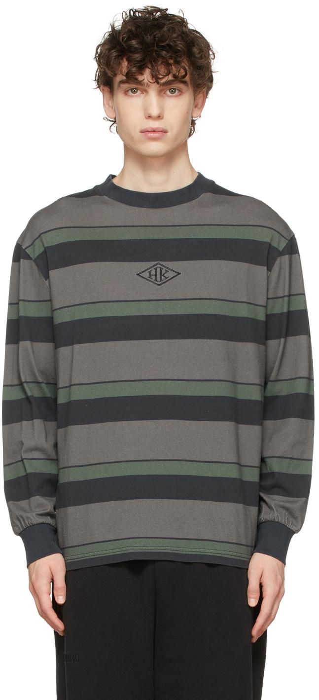 Grey & Black Striped Boxy Long Sleeve T-Shirt