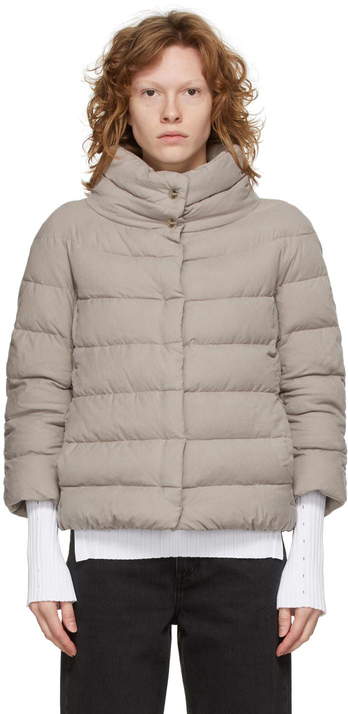 Grey Down Microfiber Jacket