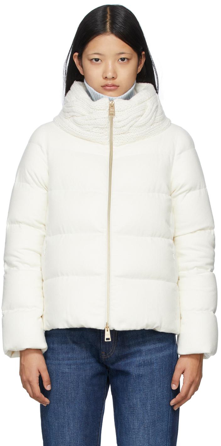 White Down Silk & Cashmere Knit Collar Jacket