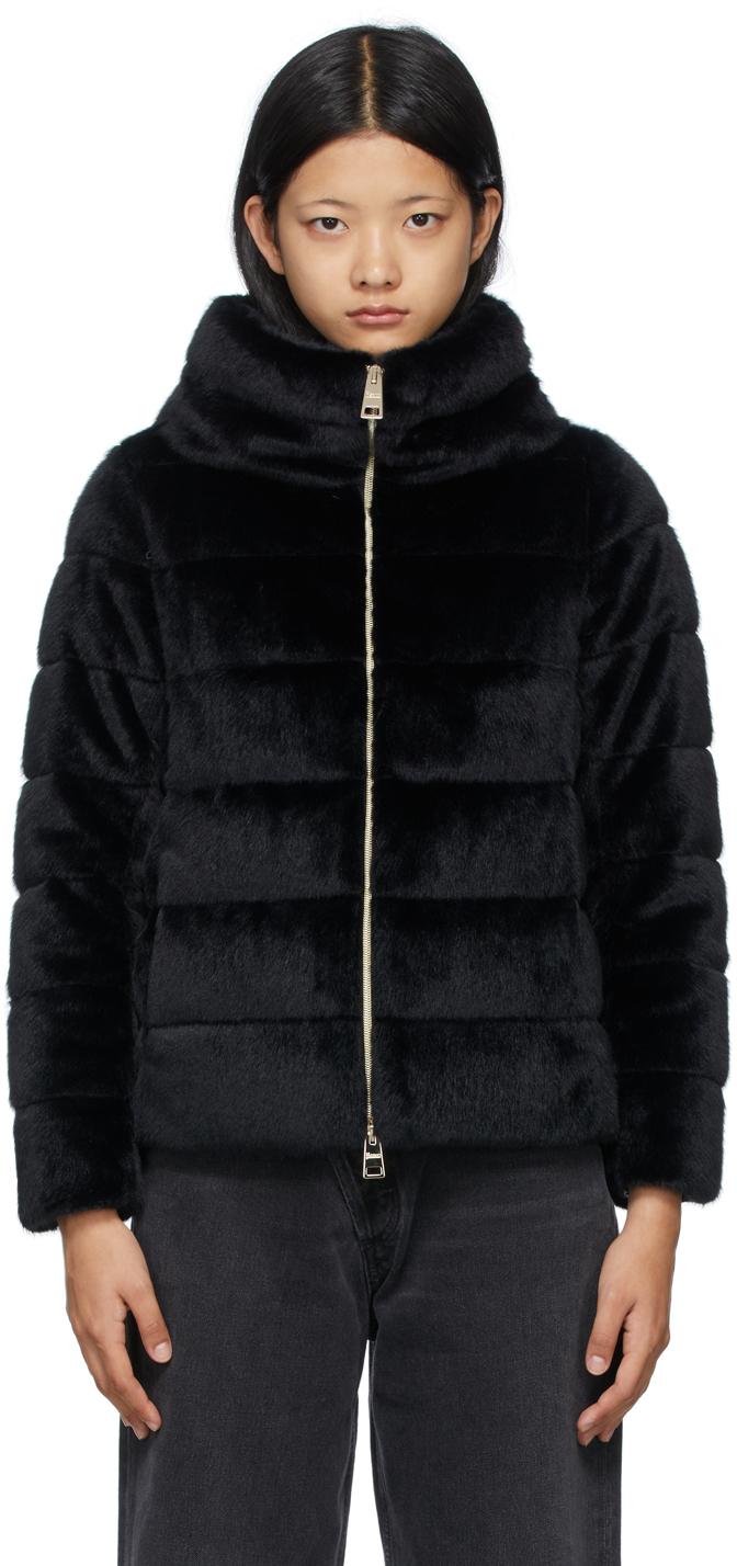 Black Down Faux-Fur Jacket