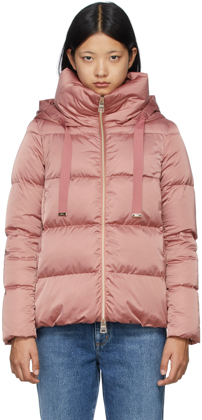 Pink Down Hooded Raso Jacket