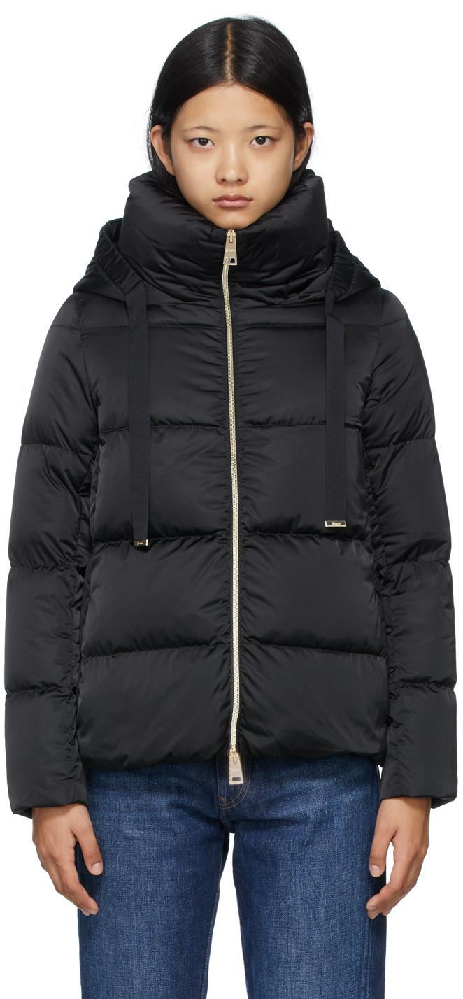 Black Down Hooded Raso Jacket