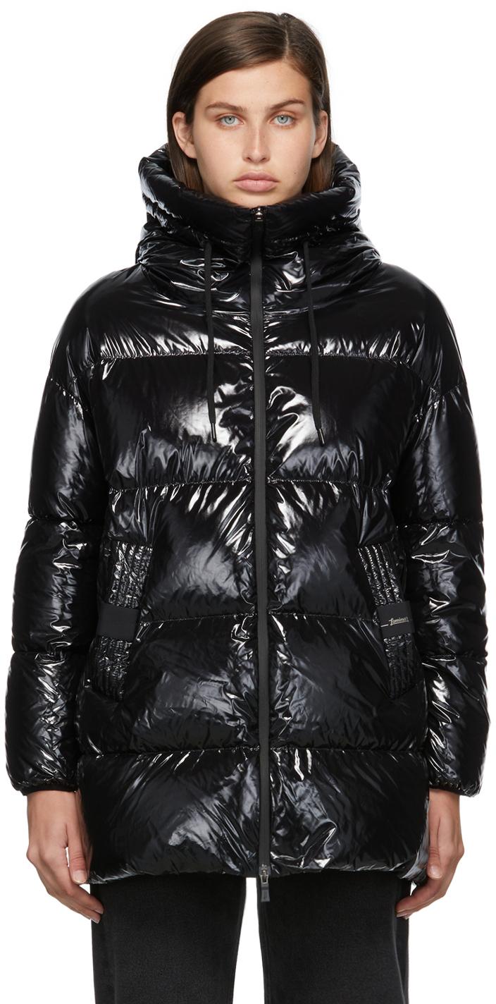 Black Down Glazed Laminar Puffer Jacket