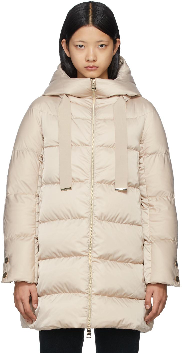 Beige Down Hooded Raso Coat