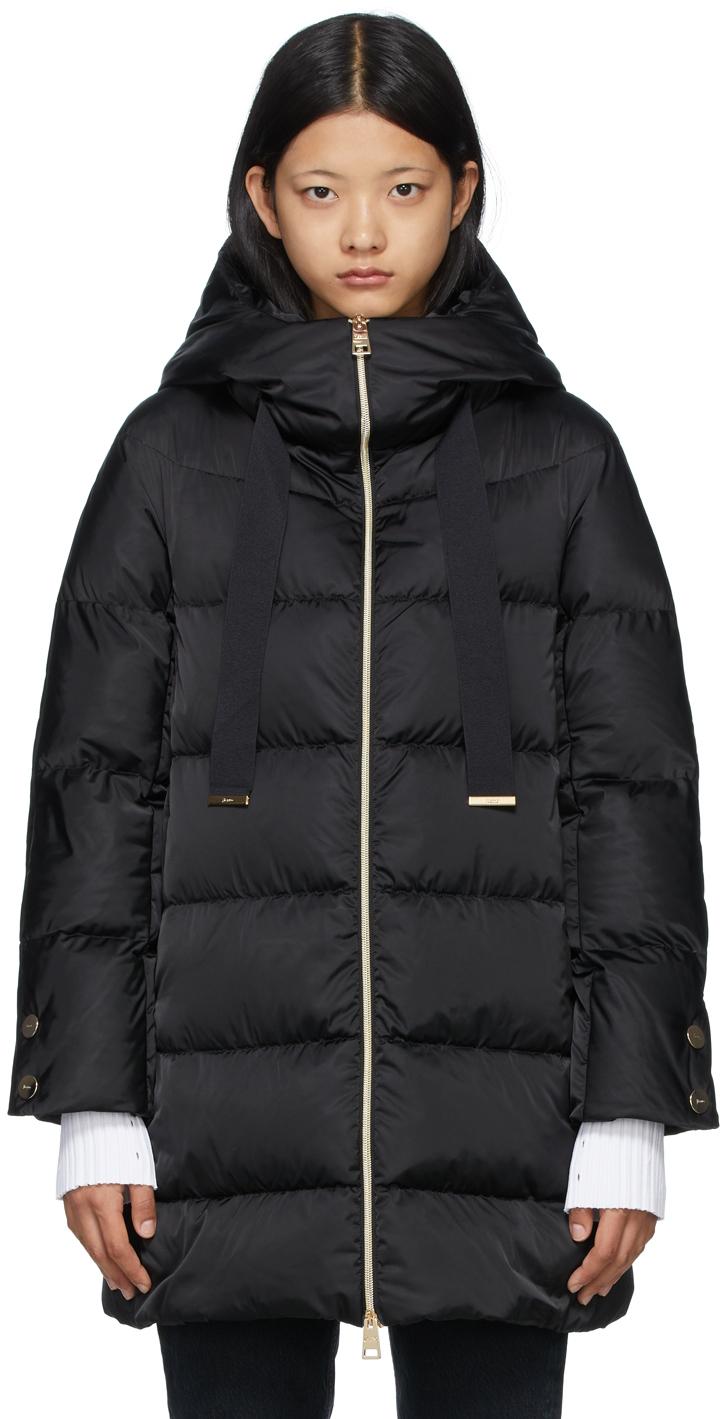 Black Down Hooded Raso Coat