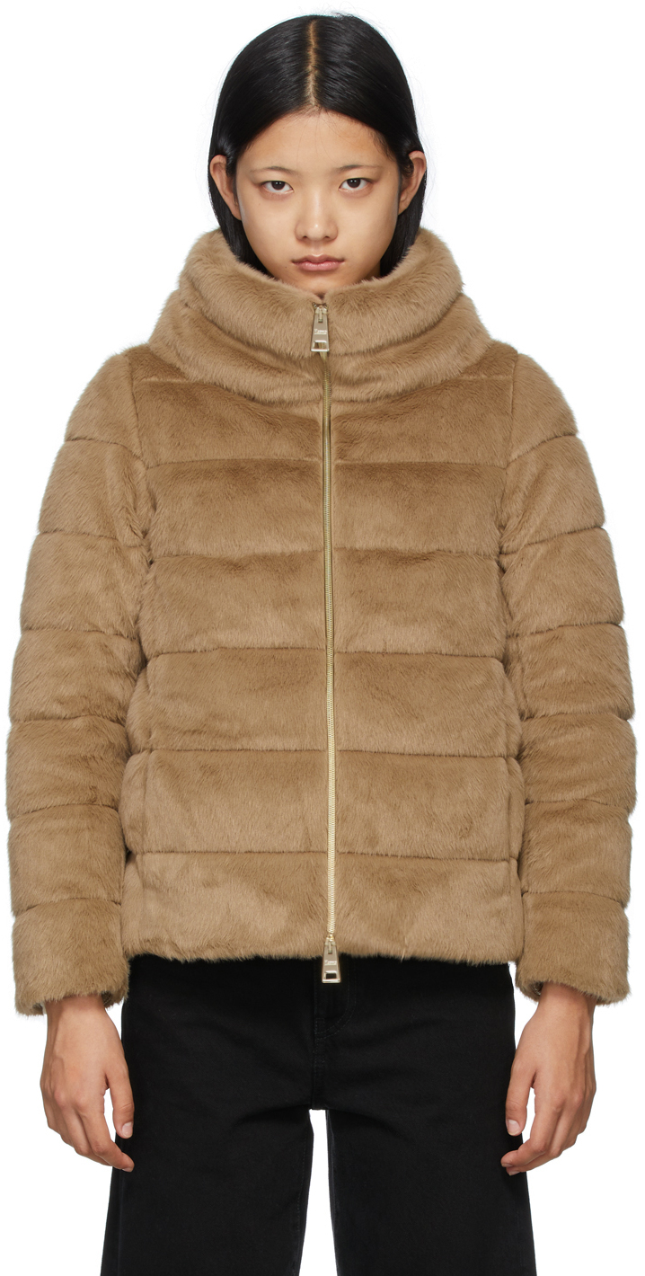 Brown Down Faux-Fur Jacket