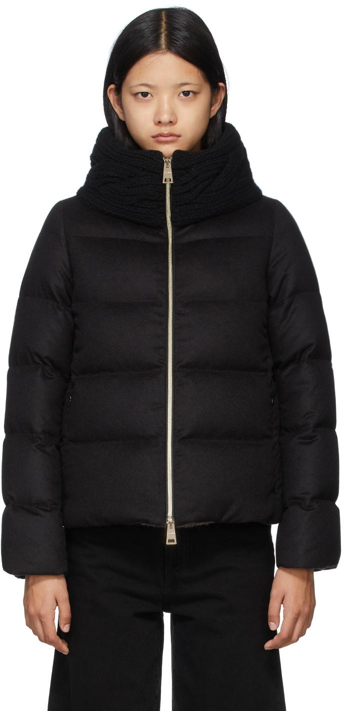 Black Down Silk & Cashmere Knit Collar Jacket
