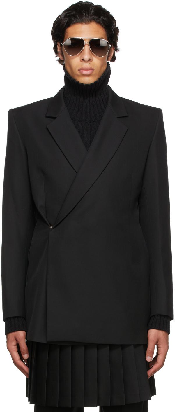 Black Wool Double-Breasted Blazer