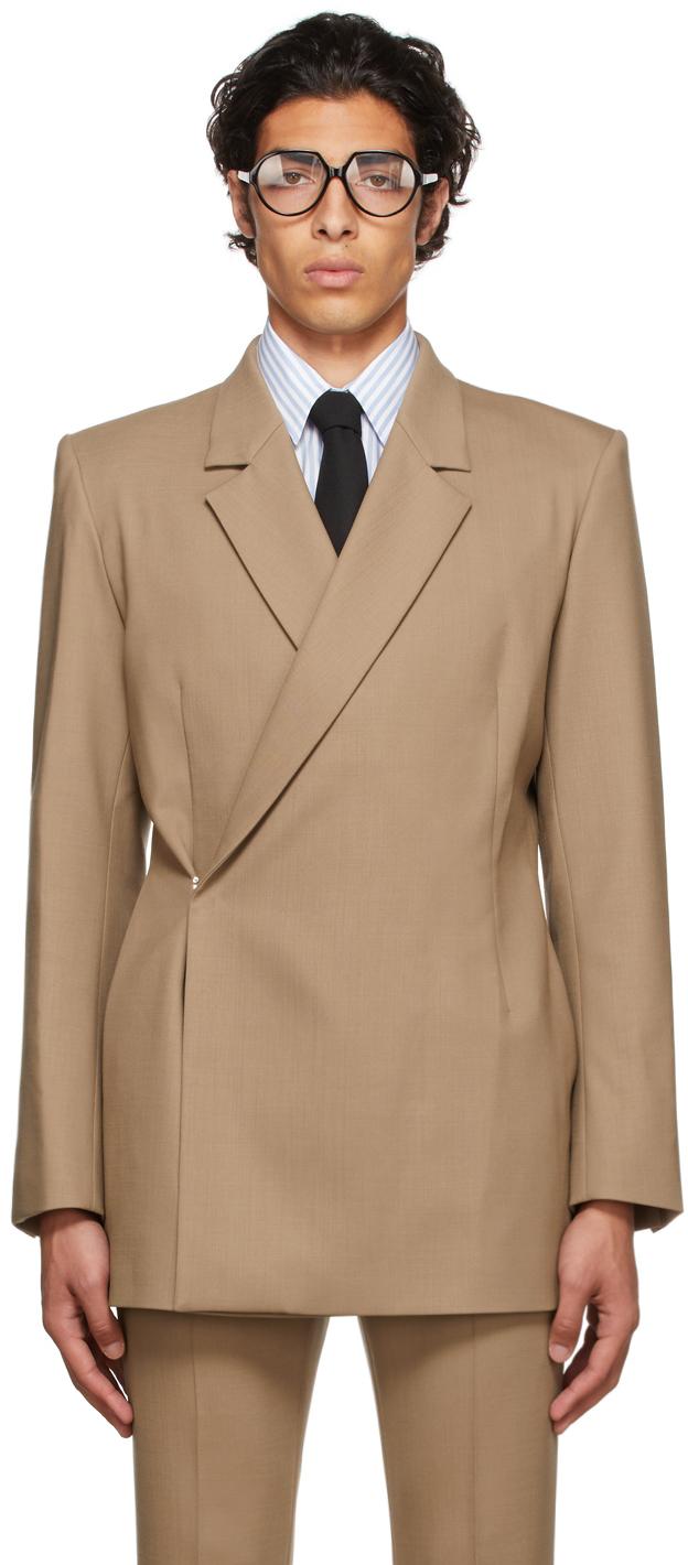 Tan Wool Double-Breasted Blazer