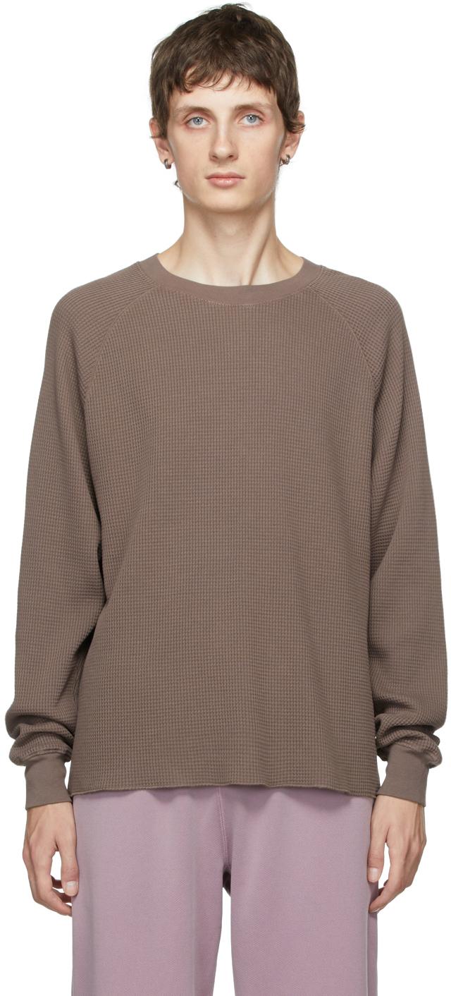 Taupe Thermal Raglan Sleeves T-Shirt
