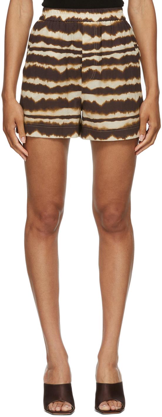 Brown Tie-Dye Voile Madrid Shorts