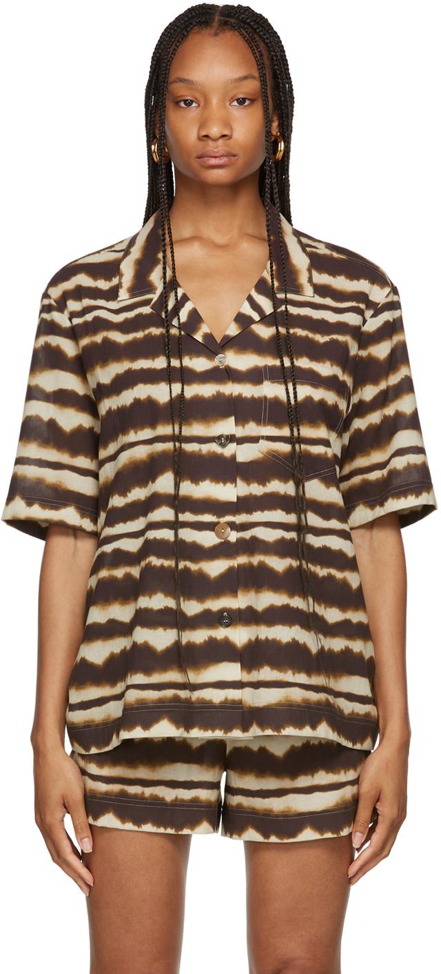 Brown Tie-Dye Voile Soho Short Sleeve Shirt