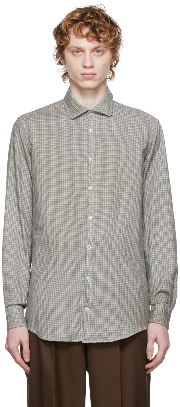 Off-White & Black Flannel Check Canary Shirt