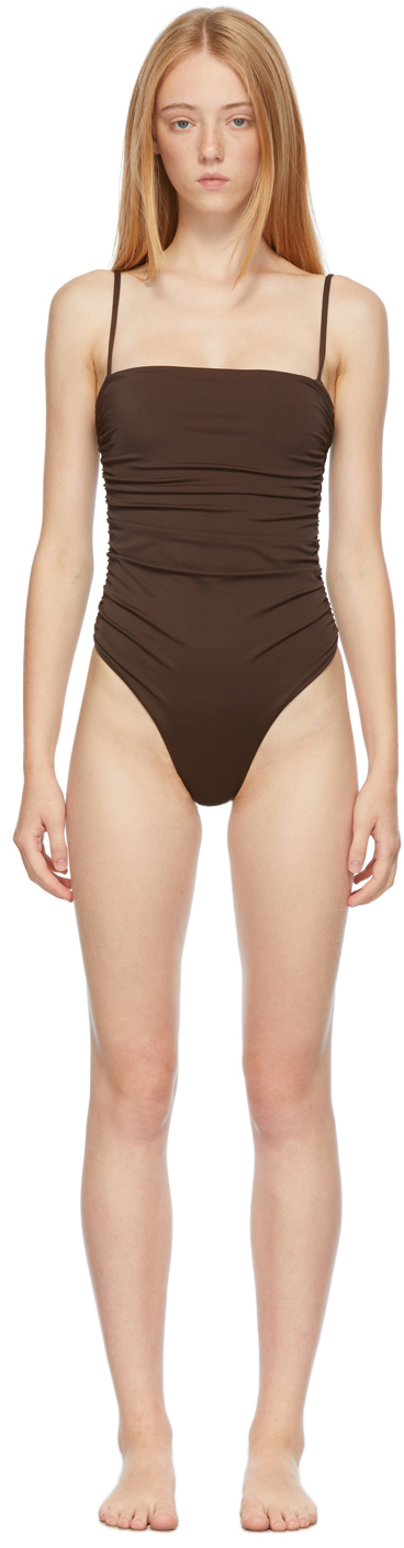 Brown 'The Ruched Maillot' One-Piece Swimsuit