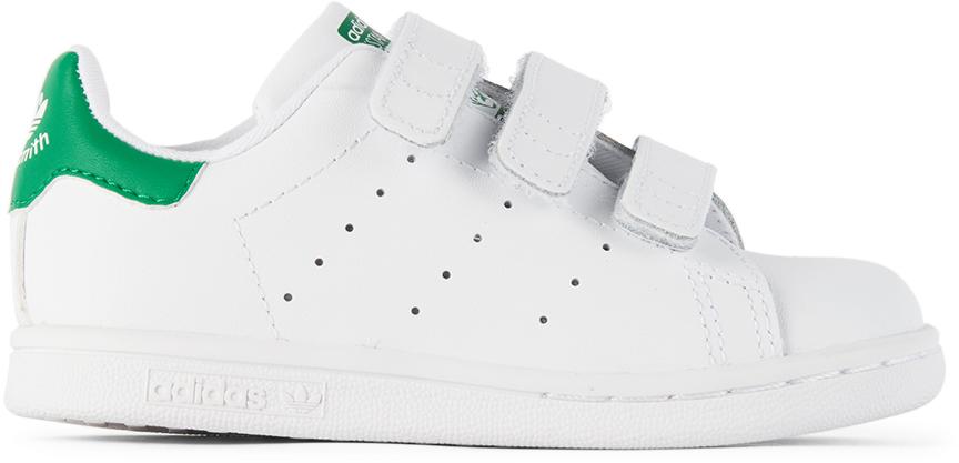 Baby White & Green Velcro Stan Smith Sneakers