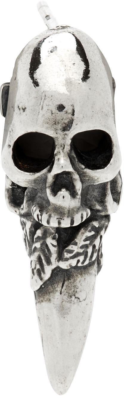 Silver Skull Single Earring