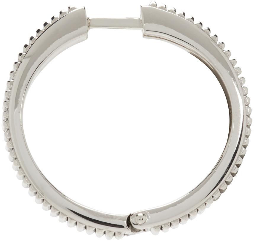 Silver Engraved Hoop Single Earring