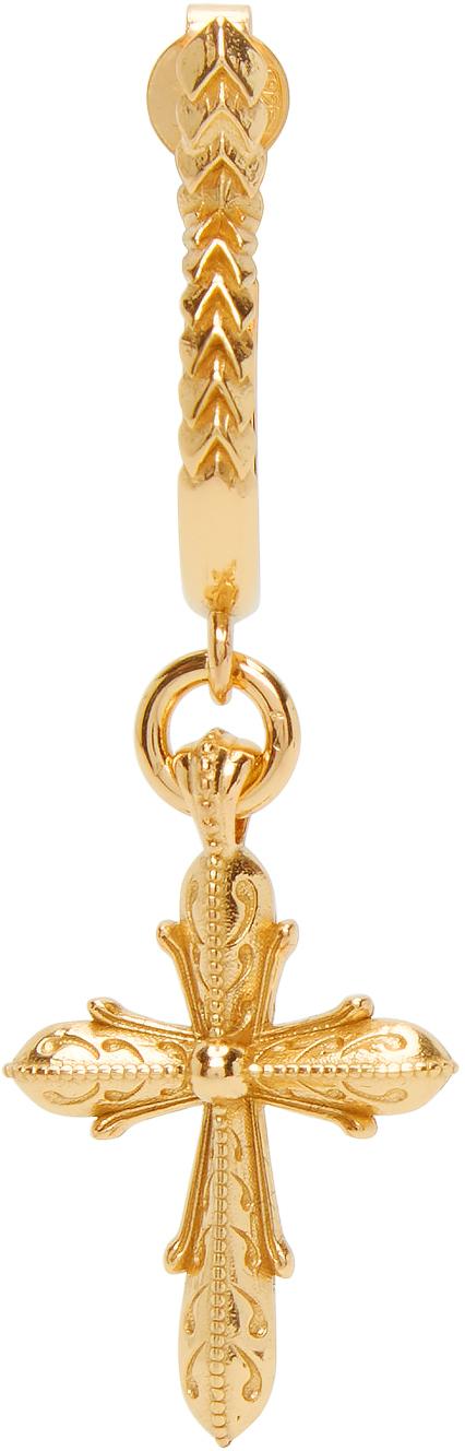 Gold Engraved Cross Single Earring