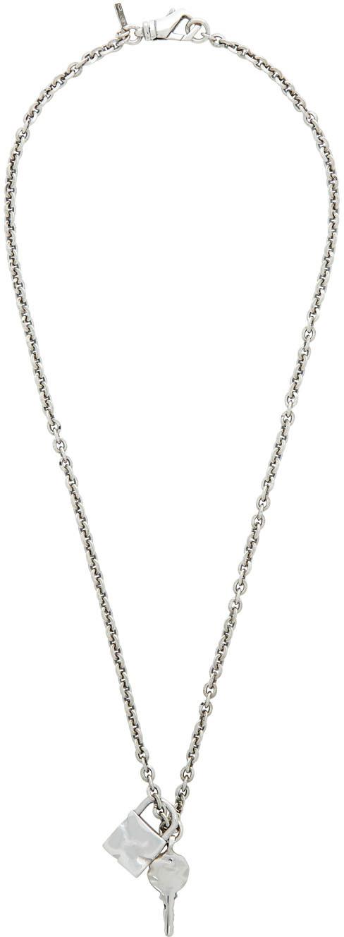 SSENSE Exclusive Silver Padlock & Key Necklace