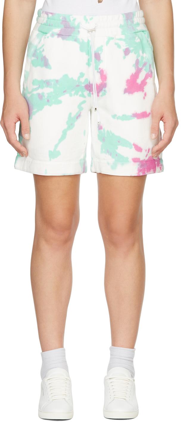 White Tie-Dye Core Logo Sweat Shorts