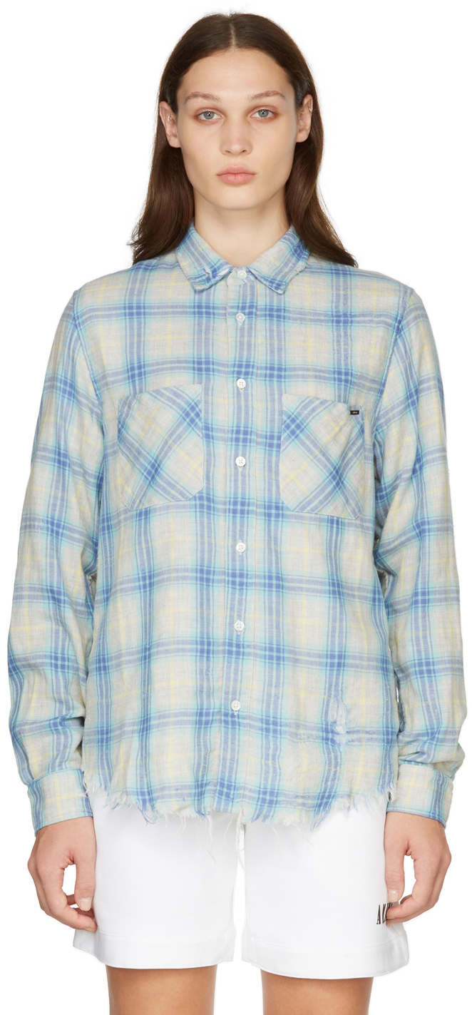 Multicolor Check Distressed Shirt