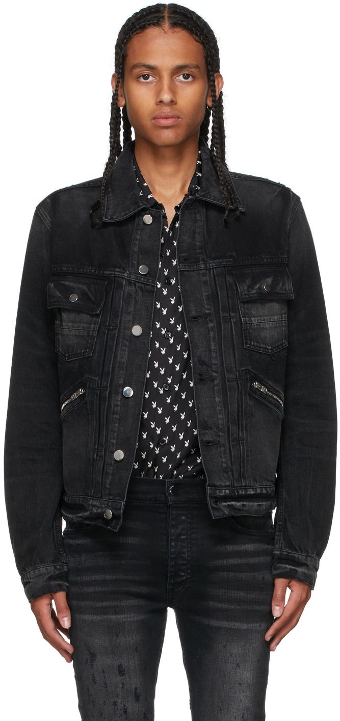 Black Denim Double Slanted Jacket