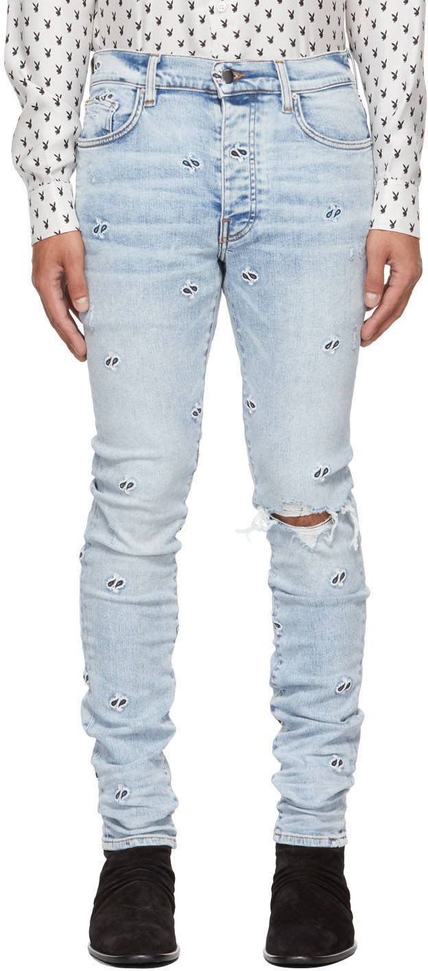 AMIRI Blue Embroidered Paisley Jeans