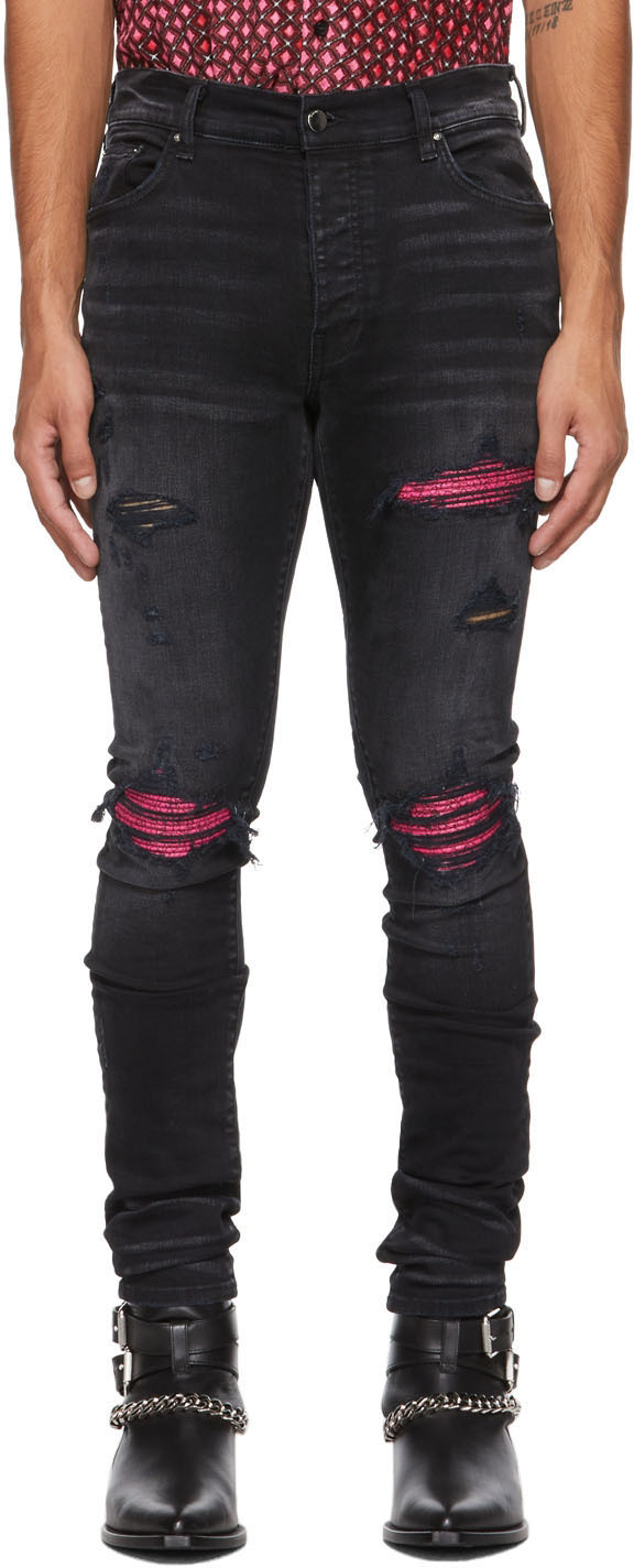 Black & Pink Cracked Leather MX1 Jeans