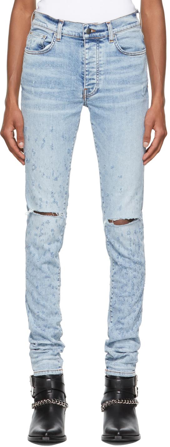 AMIRI Blue Distressed Jeans