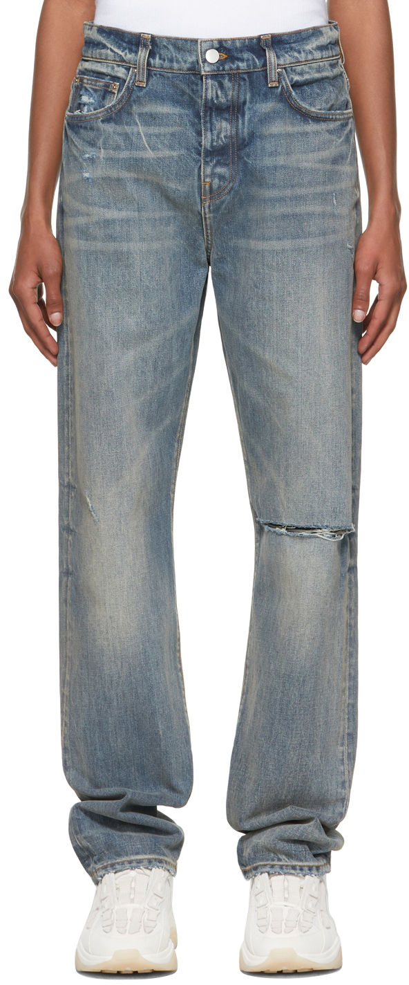 AMIRI Blue Straight Fit Slit Jeans