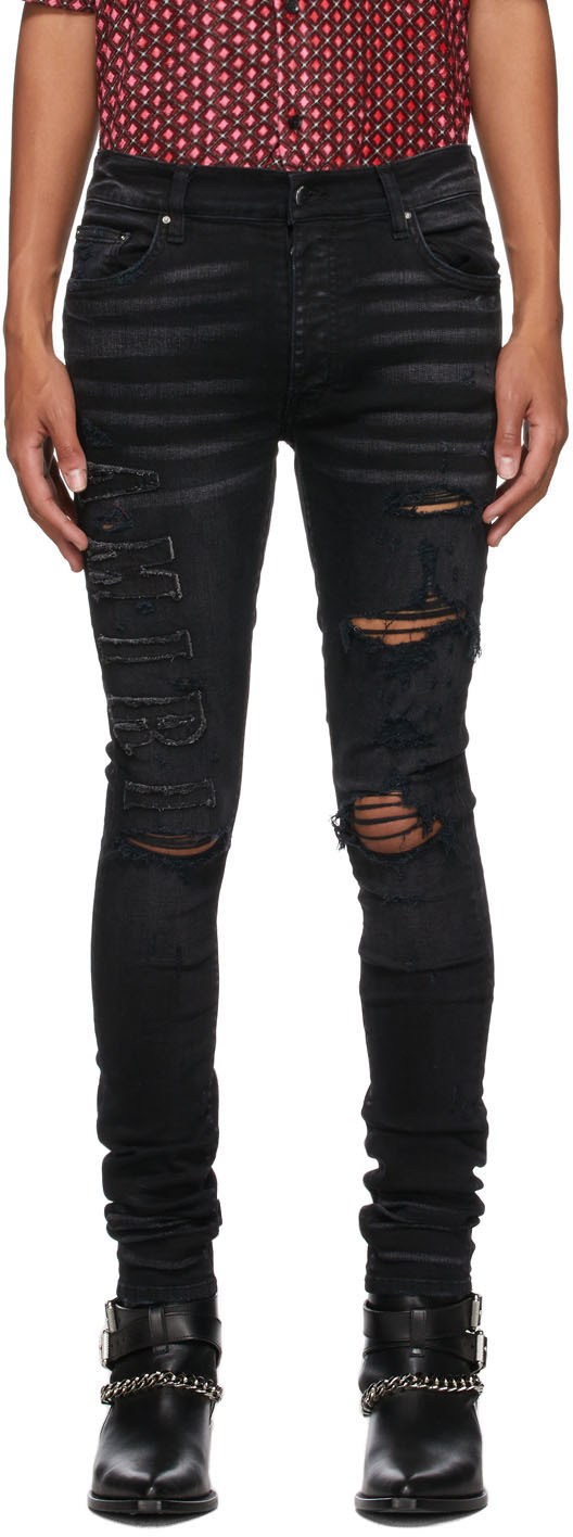 AMIRI Black Logo Appliqué Jeans