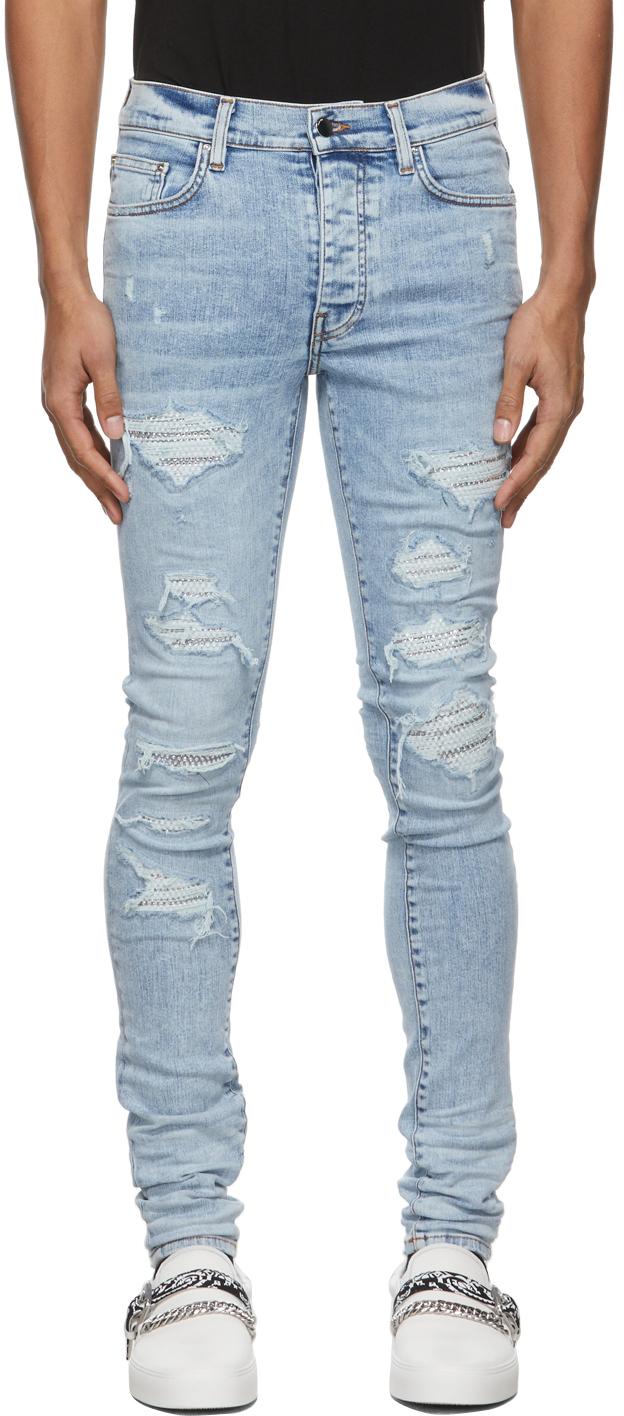 AMIRI Blue Swarovski Crystal Jeans