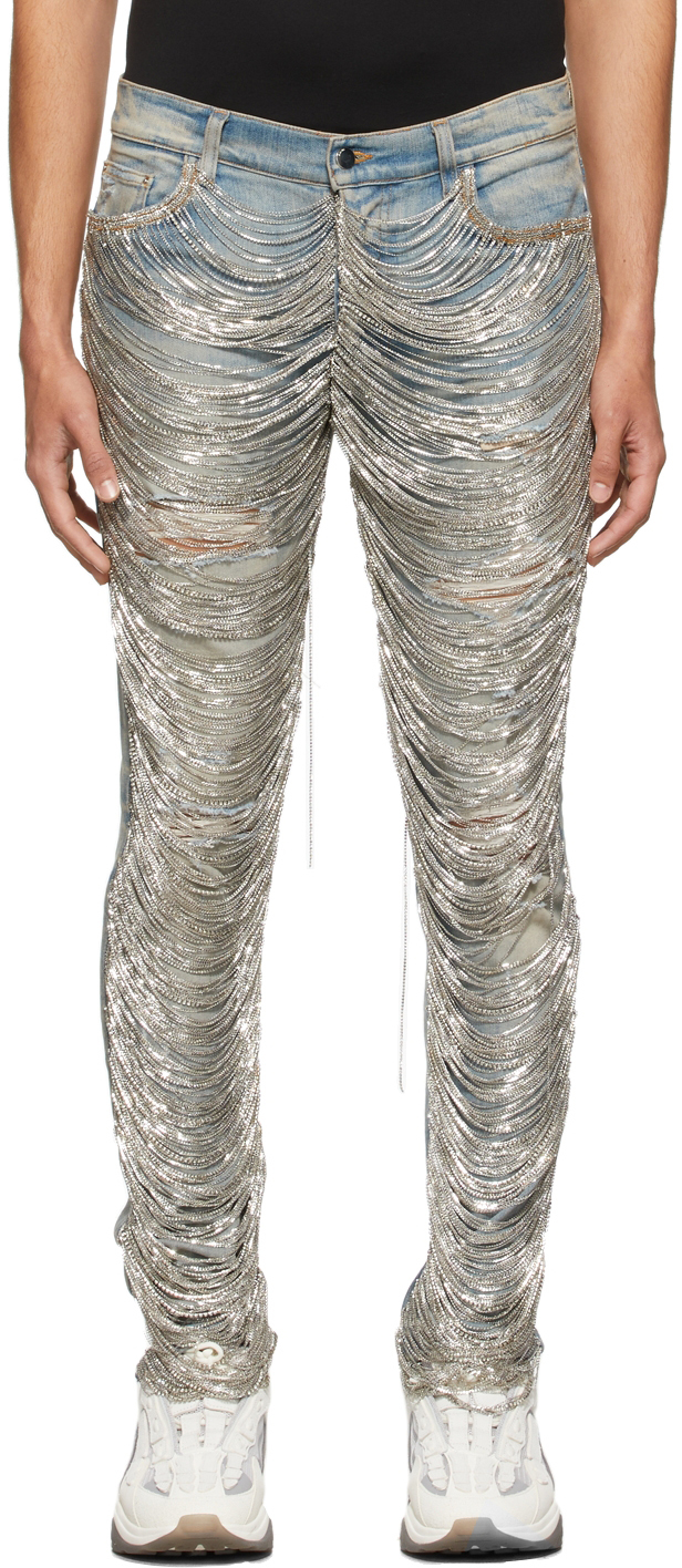 AMIRI Blue Fringe Wire Faded Jeans