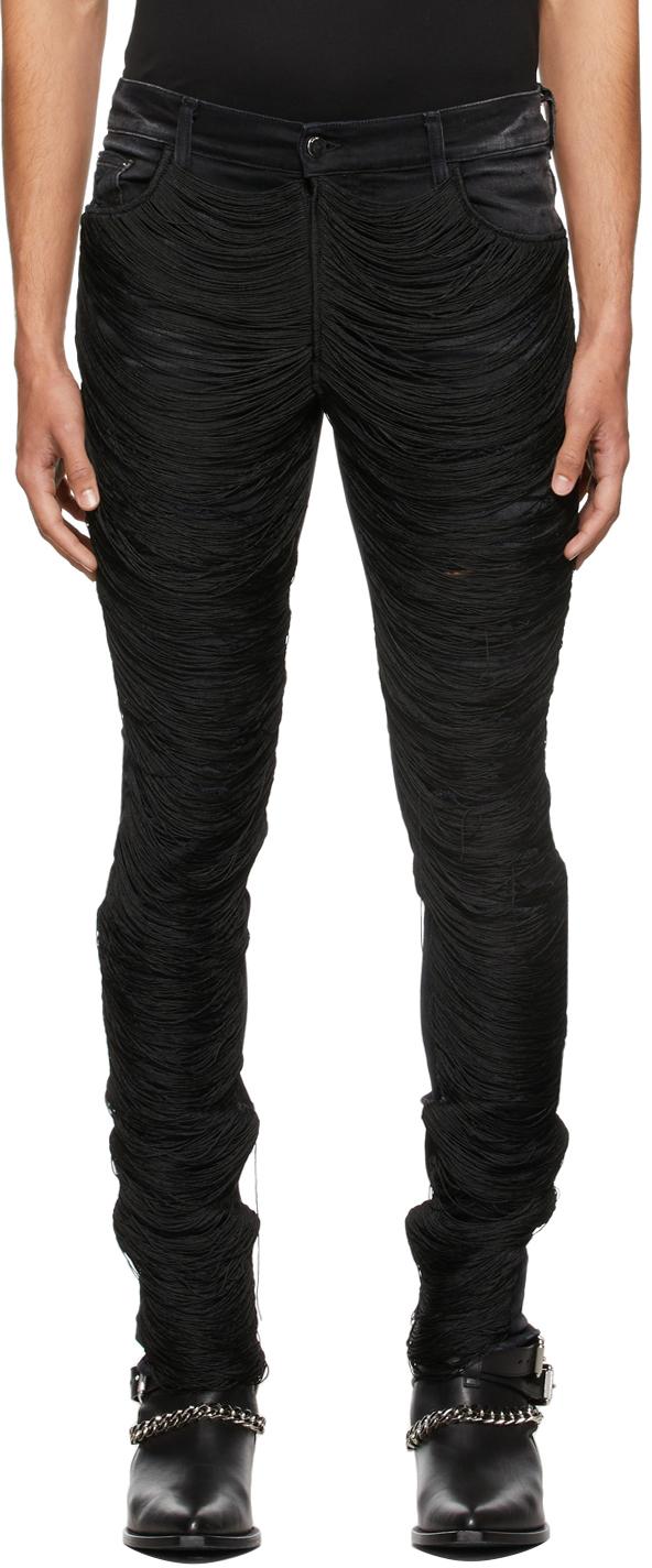 AMIRI Black Fringe Wire Ripped Jeans
